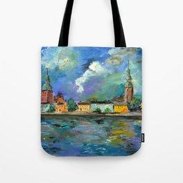 A Night of Color in Riga Tote Bag