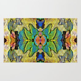 Colorful  Nature Wood Pattern Psychedelic Art Rug