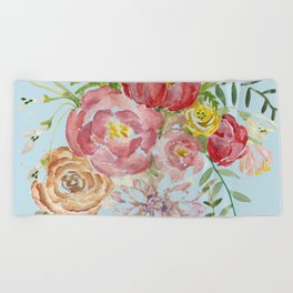 Bouquet of Watercolor on Blue Background Beach Towel