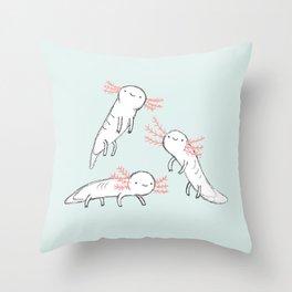 Three Little Axolotls Throw Pillow