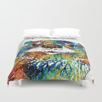 otters Duvet Covers featuring Otter Art - Ottertude - By Sharon Cummings by Sharon Cummings