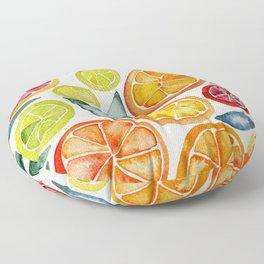 Sliced Citrus Watercolor Floor Pillow