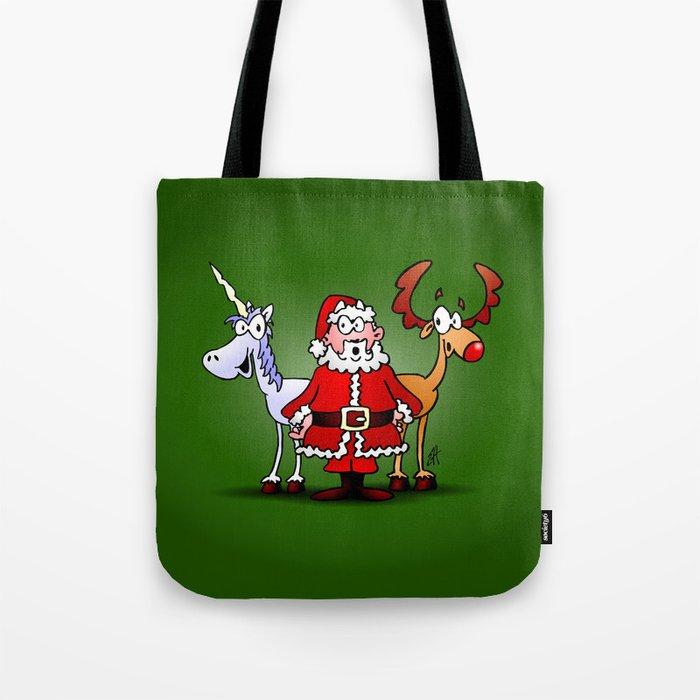 Santa Claus, his reindeer and a unicorn Tote Bag