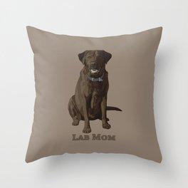 Dog Mom Chocolate Brown Labrador Retriever Throw Pillow