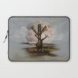 Algiz  Rune and Deer Digital Art Collage Laptop Sleeve