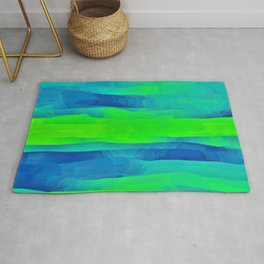 Lime Green & Blue Stripes Abstract Rug