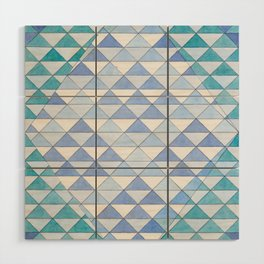 Triangle Pattern No. 9 Shifting Blue and Turquoise Wood Wall Art