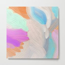 Abstract modern teal pink acrylic paint brushstrokes Metal Print