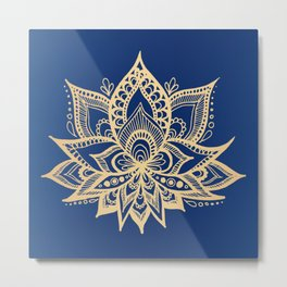 Gold and Blue Lotus Flower Mandala Metal Print