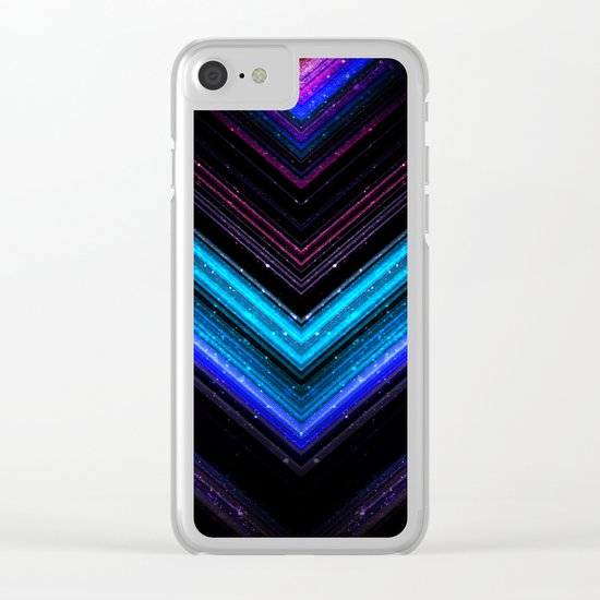Sparkly metallic blue and purple galaxy lines Clear iPhone Case