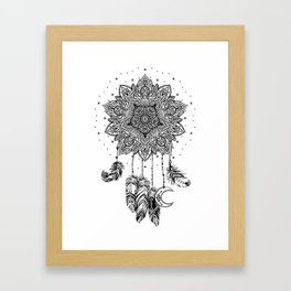 Native American Indian talisman dreamcatcher with feathers Framed Art Print