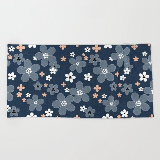Blue floral pattern . Beach Towel