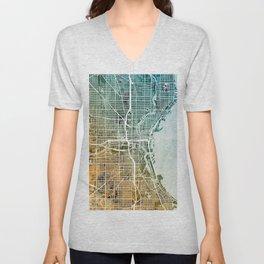 Milwaukee Wisconsin City Map Unisex V-Neck