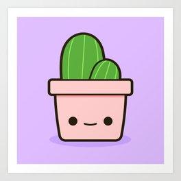 Cactus in Kawaii Pot  1 Art Print