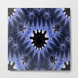 Blue Microbes Metal Print