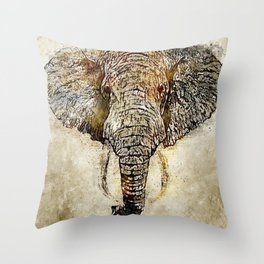 Elephant Vintage Watercolor Art Throw Pillow