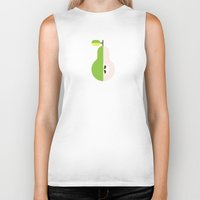 pear Biker Tanks featuring Fruit: Pear by Christopher Dina