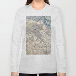 Old Map of Palo Alto & Silicon Valley CA (1943) Long Sleeve T-shirt