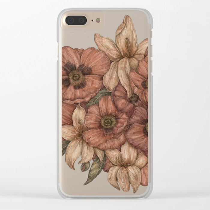 Poppies and Lilies Clear iPhone Case