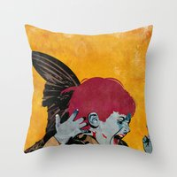 wesley bird Throw Pillows featuring Bird by Alvaro Tapia Hidalgo