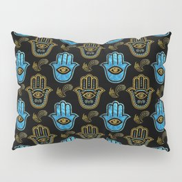 Hamsa Hand pattern - Gold and Blue glass Pillow Sham