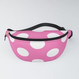 Geometric Candy Dot Circles - White on Strawberry Pink Fanny Pack