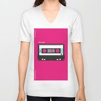 cassette V-neck T-shirts featuring Cassette  by JFE ILLUSTRATIONS