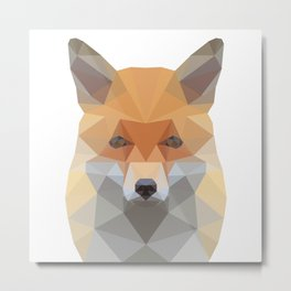 Fox Abstract Low Poly Metal Print