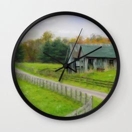 Autumn Barn Wall Clock