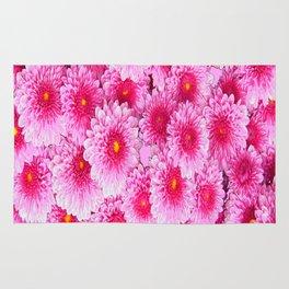 Decorative Pink Mums Colored Art Rug