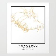 HONOLULU HAWAII CITY STREET MAP ART Art Print