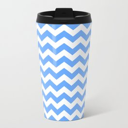 Sky Blue Small Chevron Pattern Metal Travel Mug