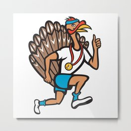 Turkey Run Runner Thumb Up Cartoon Metal Print