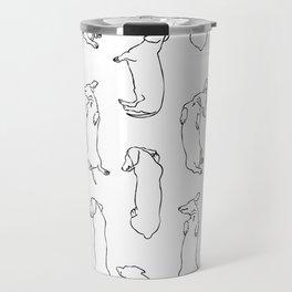 Dachshund Sleep Study Pattern. Sketches of my pet dachshund's sleeping positions. Travel Mug