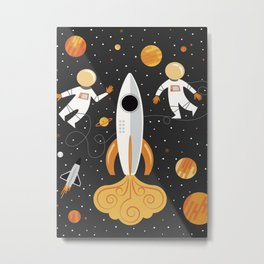 Astronauts in Space Metal Print