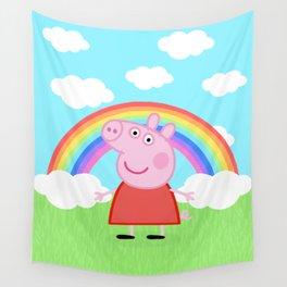 Peppa w/ rainbow Wall Tapestry