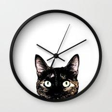 Peeking Cat Wall Clock