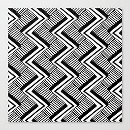 Zig-Zag Black & White Canvas Print