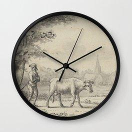 Pieter de Goeje - Landschap met twee koeien en een schaap Wall Clock