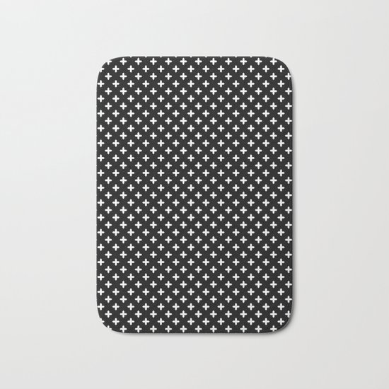 Simple Scandinavian Black And White Pattern Bath Mat By Fuzzyfox Society6