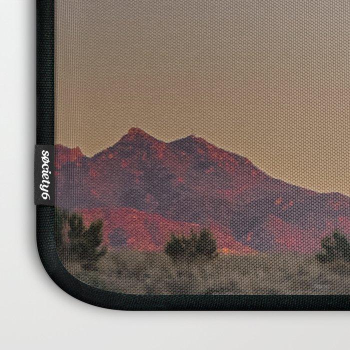 Sunset Moon Ridge // Grainy Red Mountain Range Desert Landscape Photography Yellow Fullmoon Blue Sky Laptop Sleeve