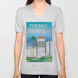 Fresno, California - Skyline Illustration by Loose Petals Unisex V-Neck