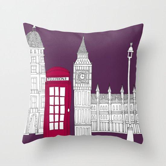 Night Sky // London Red Telephone Box Throw Pillow