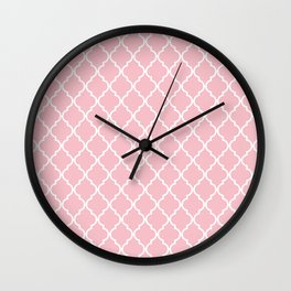 Moroccan Trellis, Latticework - Pink White Wall Clock