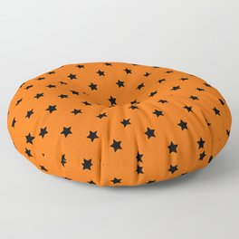 Orange and Black Stars Pattern Floor Pillow