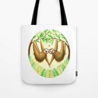 sloths Tote Bags featuring Sloths in Love by Kirsten Sevig