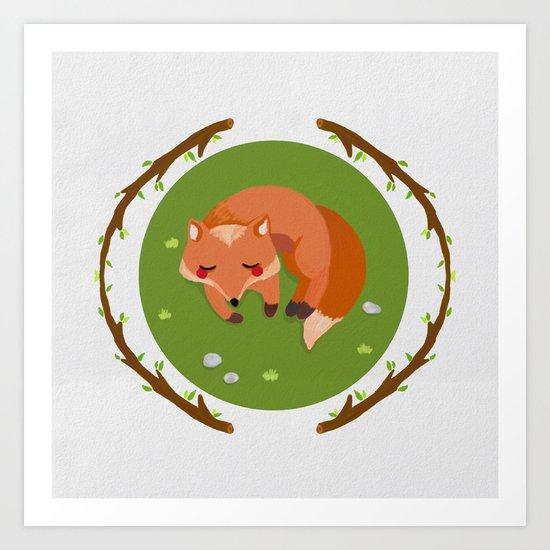 sleeping mr fox Art Print