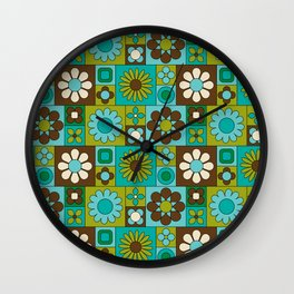 Mod Geometric Flower Pattern Wall Clock