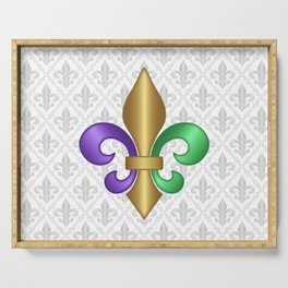 Purple Green and Gold Fleur-de-Lis on Gray Pattern Serving Tray