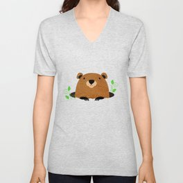 Adorable Groundhog Pattern Unisex V-Neck